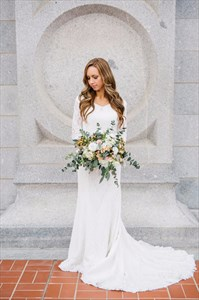 White V-Neck Floor Length Lace Wedding Dress With 3/4 Length Sleeves