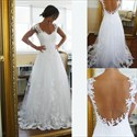 Show details for A-Line Cap Sleeve Floral Applique Floor-Length Sheer Back Wedding Gown