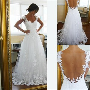 A-Line Cap Sleeve Floral Applique Floor-Length Sheer Back Wedding Gown
