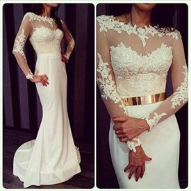 Illusion Floor-Length Mermaid Long Sleeve Lace Chiffon Wedding Dress
