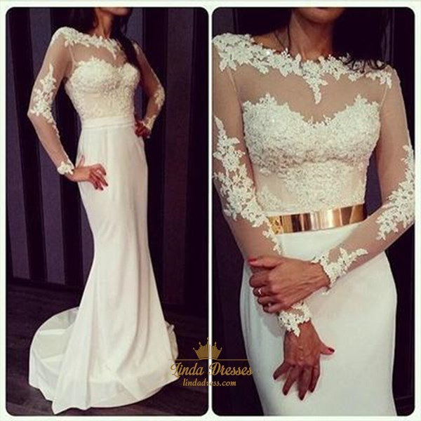 Show details for Illusion Floor-Length Mermaid Long Sleeve Lace Chiffon Wedding Dress