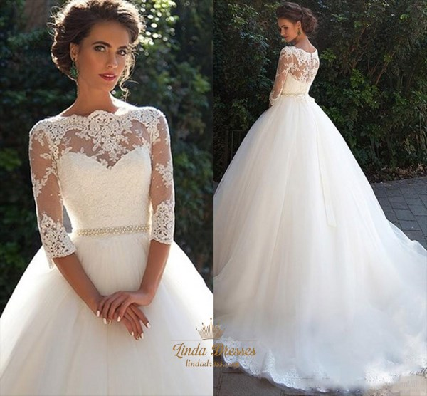 Illusion 3/4 Length Sleeve Tulle Wedding Dress With Cathedral Train