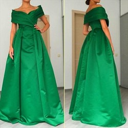 Emerald Green Off-The-Shoulder A-Line Floor Length Satin Prom Dress