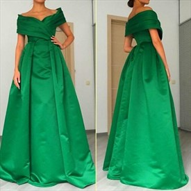 Emerald Green Off-The-Shoulder A-Line Floor Length Satin Prom Dress