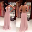 Show details for Blush Pink Scoop Neck Sleeveless Chiffon Long Prom Gown With Open Back