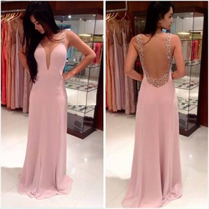 Blush Pink Scoop Neck Sleeveless Chiffon Long Prom Gown With Open Back