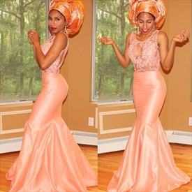 Peach Illusion Lace Bodice Sleeveless Mermaid Floor-Length Prom Dress