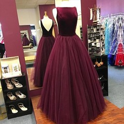 Burgundy Sleeveless A-Line Floor-Length Backless Tulle Skirt Prom Gown