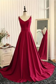Elegant Burgundy Sleeveless V-Neck A-Line Open Back Long Prom Dress