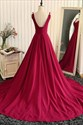 Show details for Elegant Burgundy Sleeveless V-Neck A-Line Open Back Long Prom Dress