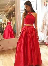 Red Sleeveless Two-Piece A-Line Floor Length Lace Bodice Prom Dress