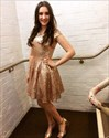 Show details for Simple Short Champagne Sequin A-Line Homecoming Dress With Cap Sleeve
