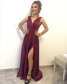 Burgundy Sleeveless V-Neck A-Line Floor-Length Prom Dress With Slit