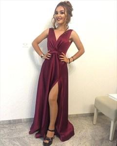 Burgundy Sleeveless V-Neck A-Line Floor-Length Prom Dress With Slit