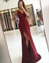Sleeveless Elegant Floor-Length V-Neck Evening Dress With Side Split