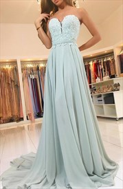 A-Line Strapless Sweetheart Lace Bodice Chiffon Bottom Long Prom Dress