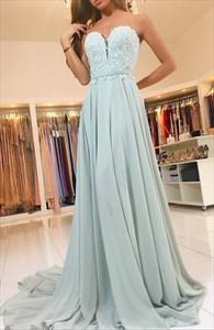 A-Line Strapless Sweetheart Lace Bodice Chiffon Bottom Long Prom Dress