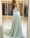 Show details for A-Line Strapless Sweetheart Lace Bodice Chiffon Bottom Long Prom Dress