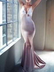 Mermaid Spaghetti Strap V Neck Floor-Length Prom Dress With Open Back