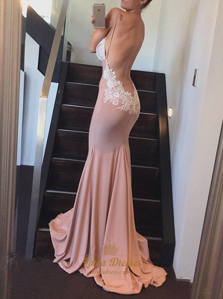 Mermaid Spaghetti Strap V Neck Floor-Length Prom Dress With Open Back