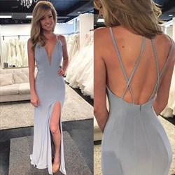 Grey Spaghetti Strap V Neck Chiffon Sleeveless Prom Dress With Split