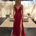 Show details for Sleeveless Empire Waist Deep V-Neck A-Line Prom Gown With Side Split
