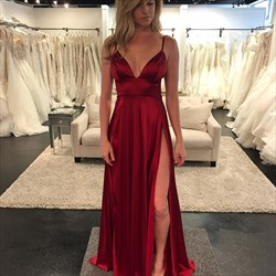 Sleeveless Empire Waist Deep V-Neck A-Line Prom Gown With Side Split
