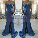 Show details for Elegant Blue Off-The-Shoulder Side Split Evening Dress With Ruffles