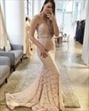 Trumpet/Mermaid Strapless Beaded-Waist Lace Evening Dress With Train