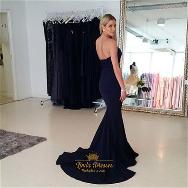 Trumpet/Mermaid Black Strapless Sweetheart Floor-Length Evening Dress