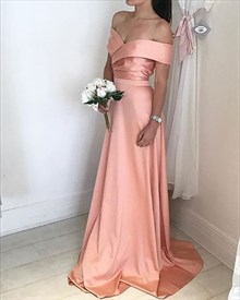 Peach Simple A-Line Off-The-Shoulder V-Neck Floor-Length Evening Dress
