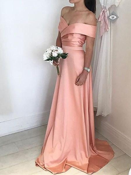 Peach Simple A-Line Off-The-Shoulder V-Neck Floor-Length Evening Dress