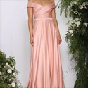 Show details for Peach Simple A-Line Off-The-Shoulder V-Neck Floor-Length Evening Dress