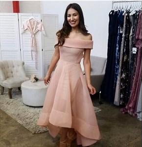 Elegant Blush Pink Off-The-Shoulder A-Line High Low Long Evening Dress