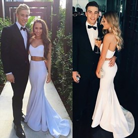 White Two-Piece Strapless Sweetheart Floor-Length Mermaid Formal Dress