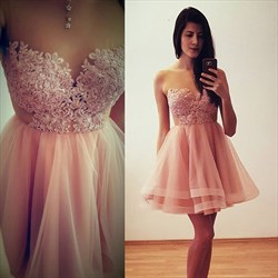 Blush Pink Sleeveless Lace Bodice Tulle A-Line Short Homecoming Dress