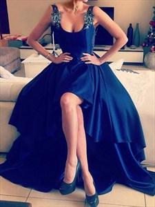 Royal Blue Sleeveless Scoop Neck High-Low Backless Long Evening Dress
