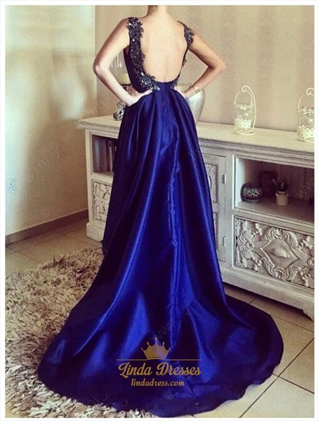 Royal Blue Sleeveless Scoop Neck High-Low Backless Long Evening Dress