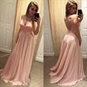 Show details for Blush Pink A-Line V-Neck Sleeveless Chiffon Prom Dress With Open Back