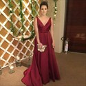 Show details for Elegant Burgundy A-Line V-Neck Sleeveless Open Back Long Formal Dress