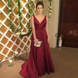 Elegant Burgundy A-Line V-Neck Sleeveless Open Back Long Formal Dress