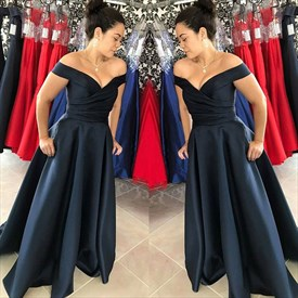 A-Line Navy Blue Off-The-Shoulder V-Neck Floor Length Satin Prom Dress