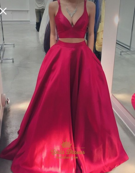 Red Two-Piece A-Line Sleeveless V-Neck Satin Prom Gown With Pockets