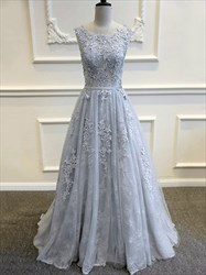 Grey A-Line Floor-Length Sleeveless Backless Applique Lace Prom Dress