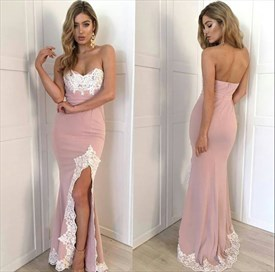 Peach Strapless Lace Embellished Floor-Length Evening Dress With Slit