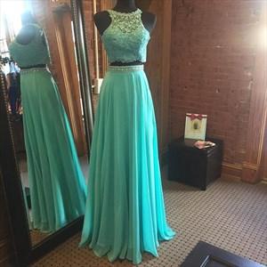Sleeveless Two-Piece Lace Bodice Chiffon Bottom A-Line Long Prom Dress