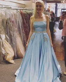 Light Blue Strapless Jewel Embellished Satin Prom Dress With Pockets