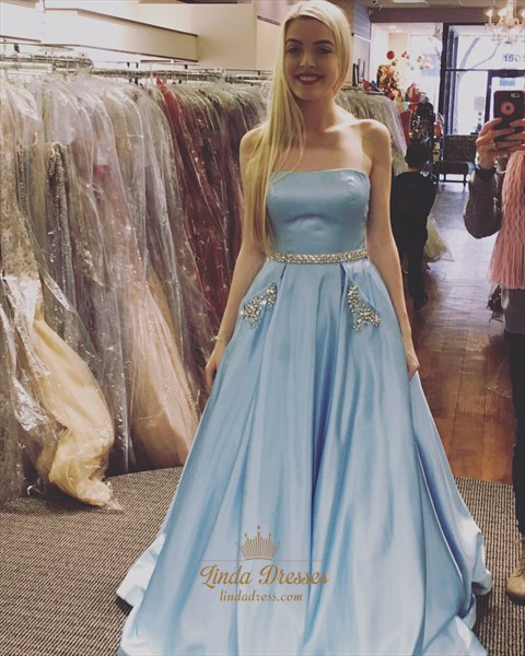 Light Blue Strapless Jewel Embellished Satin Prom Dress With Pockets