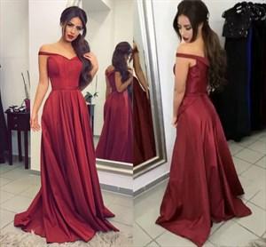 A-Line Off-The-Shoulder V-Neck Floor-Length Elegant Evening Dress