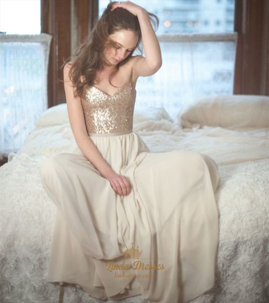 Floor-Length A-Line Chiffon Sleeveless Prom Dress With Sequin Bodice